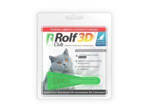 Рольф Клаб 3D, капли для кошек от блох и клещей